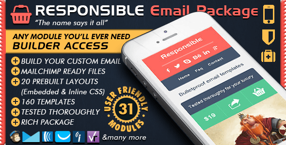 Responsive Email Builder - RESPONSIBLE - Mailchimp Editor Ready - Newsletters Email Templates