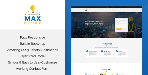 Max Electric - Responsive HTML Template - Corporate Site Templates