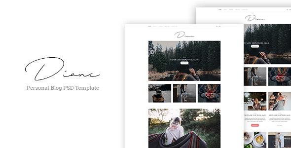 Diane - Personal Blog PSD Template - Photoshop UI Templates