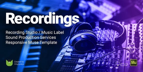 Download Recordings - Recording Studio / Sound Production / Music Label Responsive Muse Template