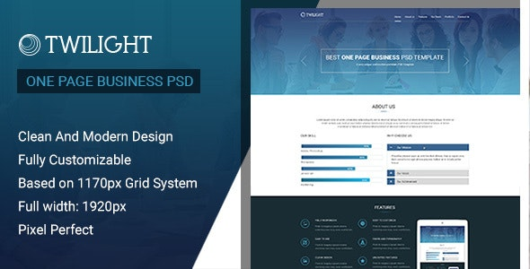 Twilight One Page Business PSD Template - Photoshop UI Templates