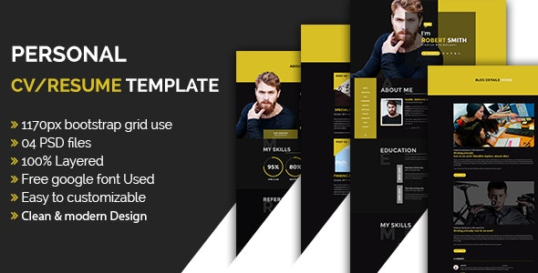 Personal CV/Resume Template - Personal Photoshop