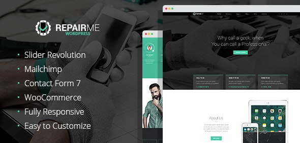 RepairMe - Gadgets & Home Appliance Fixing Workshop WordPress theme - Technology WordPress