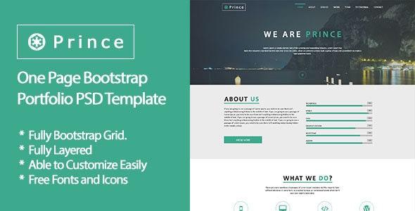 Prince - One Page Bootstrap Portfolio PSD Template - Portfolio Creative