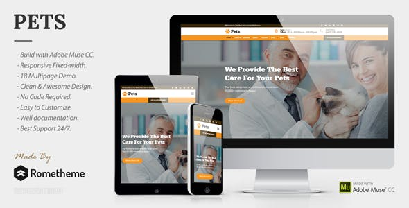 PETS - Pet Care, Shop, and Veterinary Muse Template