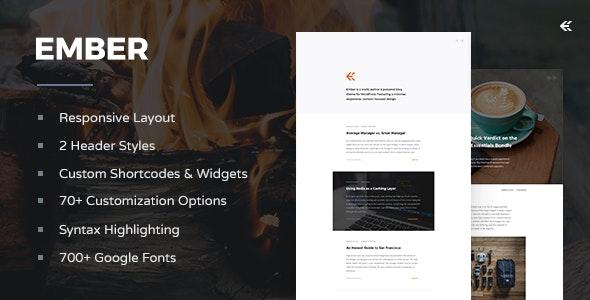 Ember v3.4.0 – Responsive WordPress Blog Theme
