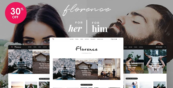 Florence - Feminine Clean and Fresh WordPress Blogging Theme - Personal Blog / Magazine