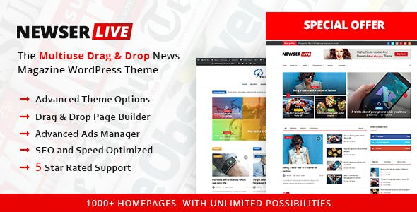 Newser - The Multiuse Drag and Drop News/Magazine WordPress Theme
