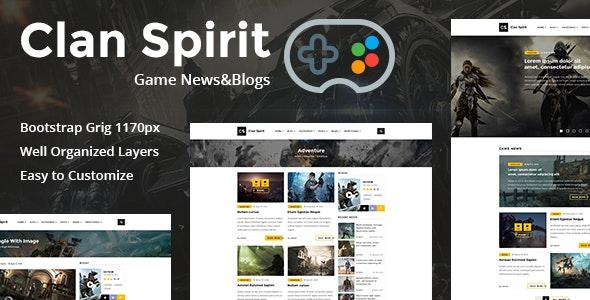 Clan Spirit – The Gaming PSD Template - Portfolio Creative