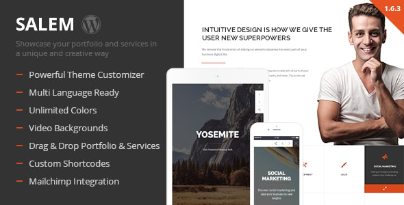 Salem - Clean and Bold One Page Wordpress Theme - Business Corporate