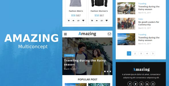 Amazing - Multiconcept News, Magazine, Blog and eCommerce Mobile Template