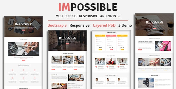 IMPOSSIBLE - Multipurpose Responsive HTML Landing Page - Landing Pages Marketing