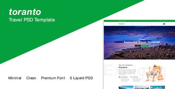 Toranto Travel PSD Template - Travel Retail