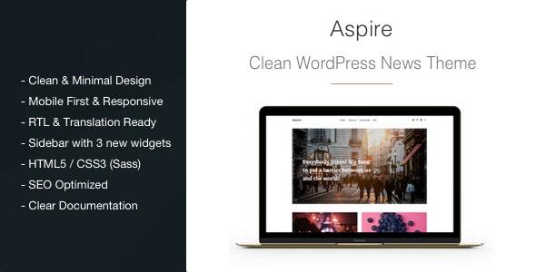 Aspire - News & Magazine Clean WordPress Theme - News / Editorial Blog / Magazine