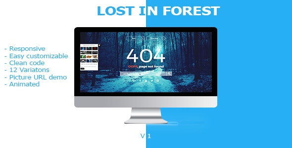 Lost In Forest - Responsive Error Page - 404 Pages Specialty Pages