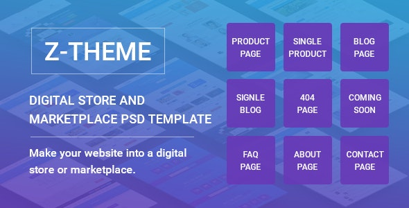 Z-Theme    Digital Store and Marketplace PSD Template - Business Corporate