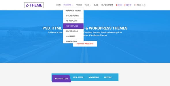 Z-Theme  | Digital Store and Marketplace PSD Template