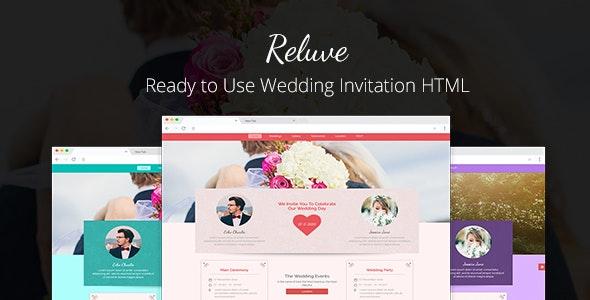 Reluve - Responsive Wedding Invitation Landing Page - Wedding Site Templates