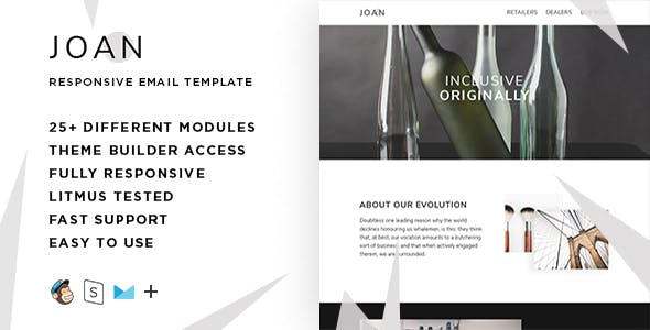 Joan  – Responsive HTML Email + StampReady, MailChimp & CampaignMonitor compatible files