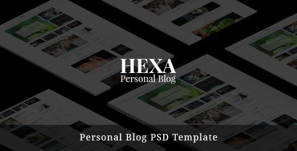 Hexa- Personal Blog PSD Template - Photoshop UI Templates