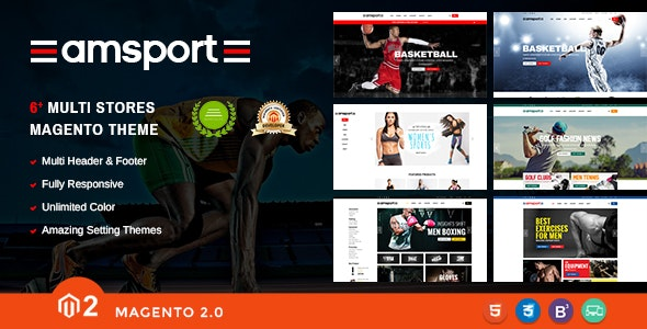 AMSport - Sport Store Responsive Magento Theme - Magento eCommerce