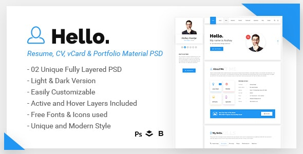 Hello - Resume Google Material PSD Template - Virtual Business Card Personal