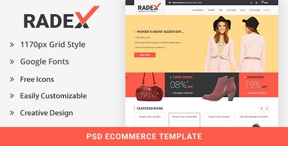 RADEX Ecommerce PSD Template - Retail Photoshop