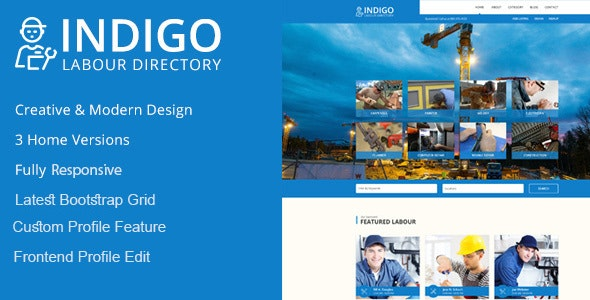 Indigo Labour Directory HTML Template - Business Corporate