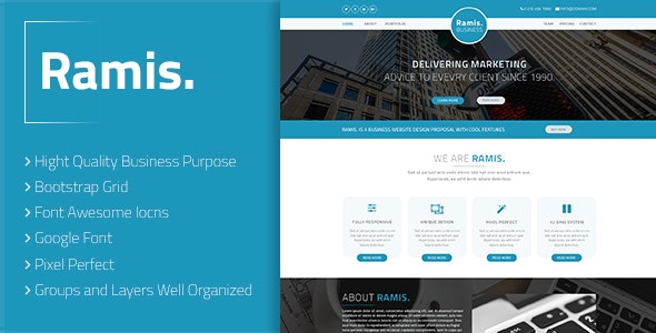 Ramis. - Business Landing Page PSD Template - Business Corporate