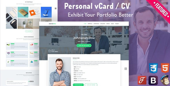 iCard - Personal vCard Template - Personal Site Templates