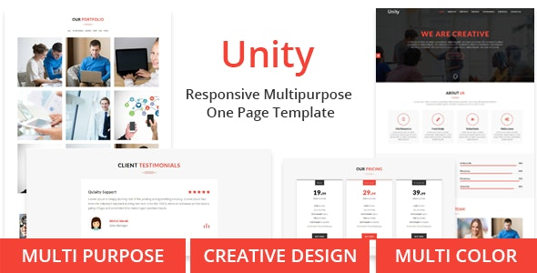 Unity - One Page Multipurpose Responsive Template - Corporate Site Templates