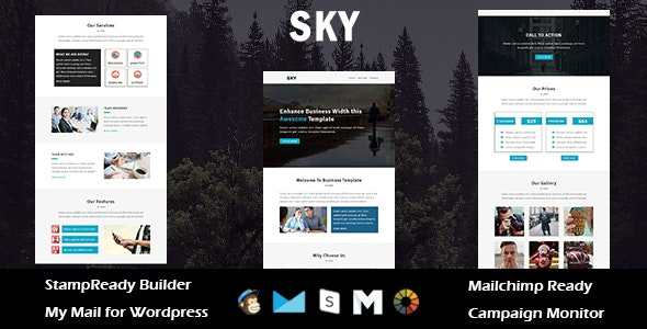 Sky - Multipurpose Responsive Email Template with Stampready Builder Access - Email Templates Marketing