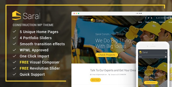 Saral - Construction Building Responsive WordPress Theme - Business Corporate