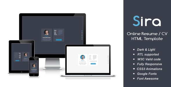 Sira - Online Resume / CV HTML Template - Resume / CV Specialty Pages