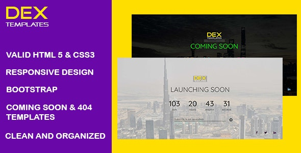 Dex - Coming Soon And 404 Error Templates - Specialty Pages Site Templates