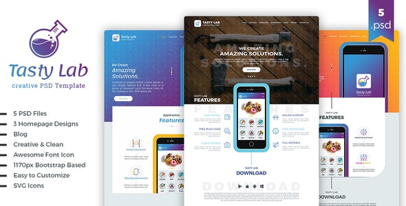 TastyLab Mobile Application Landing Page - Software Technology