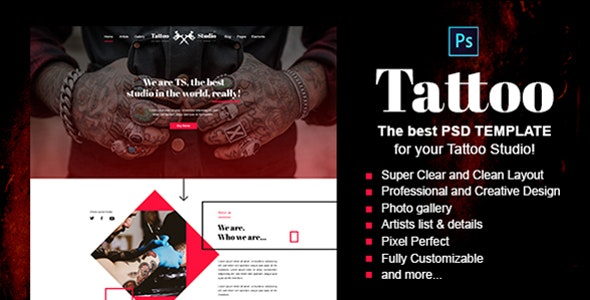 Tattoo - Tattoo Studio PSD Template - Art Creative
