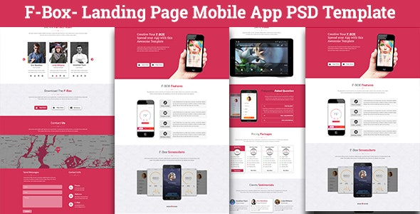 F-Box Landing Page Mobile App PSD Template - Creative Photoshop