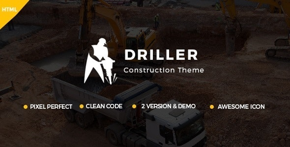 Driller -  Construction Company, Cleaning Company Template - Business Corporate