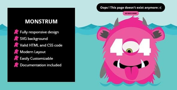 Monstrum - A Responsive 404 Page - 404 Pages Specialty Pages