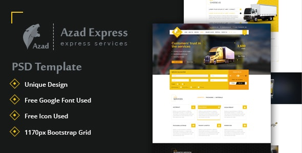 Azad, Trucking and Express Logistics Services PSD Template - Business Corporate