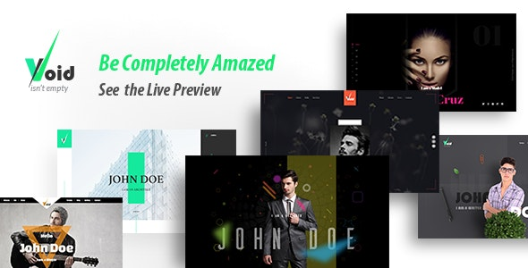 Void - Onepage Parallax Personal Portfolio Templates - Personal Site Templates