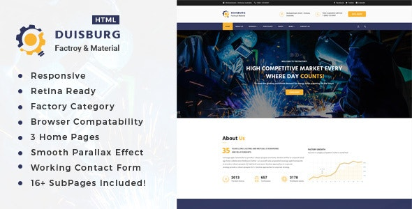 Duisburg - Factory & Industrial Business HTML Template - Business Corporate