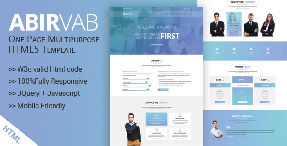 ABIRVAB - One Page Multipurpose HTML5 Template - Business Corporate