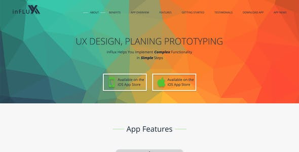 InFlux - Modern Mobile or SAAS App Landing Page