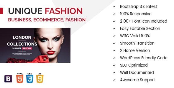 Unique - Fashion / Retail  eCommerce Template - Retail Site Templates