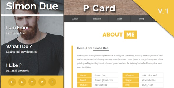 Pcard - Personal  Minimal V card Template - Virtual Business Card Personal