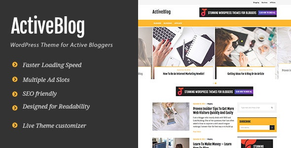 ActiveBlog - Stylish Personal WordPress Theme For Active Bloggers - Personal Blog / Magazine