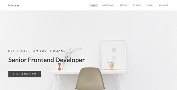 Homane - Minimal Resume HTML Template - Personal Site Templates