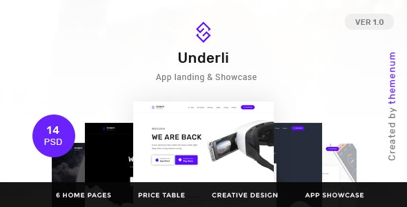 App Landing Page & Product Showcase PSD Template | Themenum - Technology Photoshop